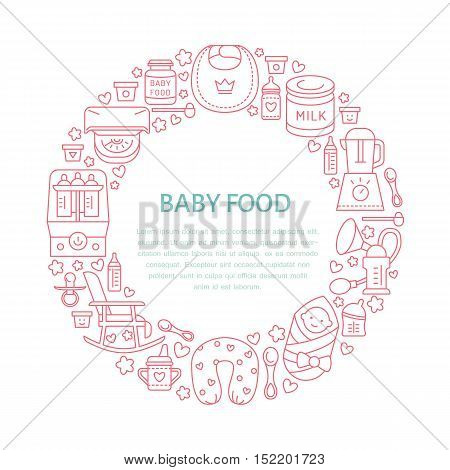 Breastfeeding poster template. Vector line illustration of breast feeding baby infant food. Nursery element: breast pump woman child powdered milk bottle sterilizer baby. Maternity banner design