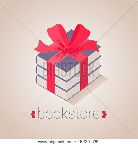 Bookstore bookshop vector sign icon symbol emblem logo. Graphic design element with books as a gift for book store book shop e-books. Education studying concept image
