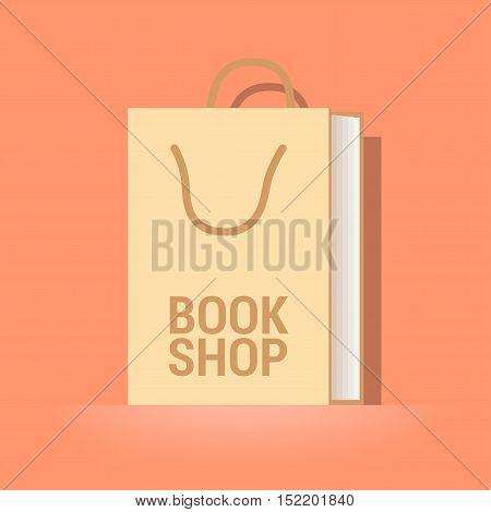 Bookstore bookshop vector emblem symbol icon logo. Template graphic design element with book as a bag for e-book store bookshop
