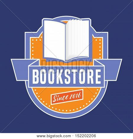 Bookstore bookshop vector emblem sign symbol logo icon. Retro style vintage design element with open book for book store book shop e-books. Education concept illustration