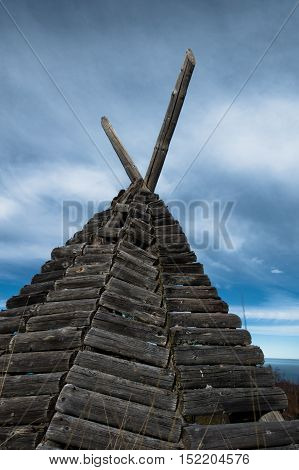Sheperd's shelter on a Bobija mountain, looks like indian wigwam but made of wood, west Serbia