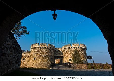 Fortress gate and wooden bridge at autumn morning, Kalemegdan, Belgrade, Serbia