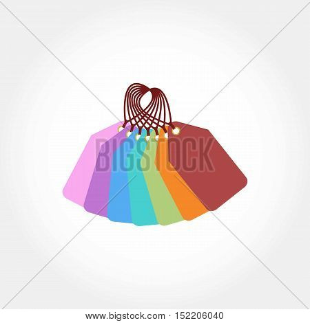 Colorful Pile of Tag Labels. Isolated. Blank Labels.