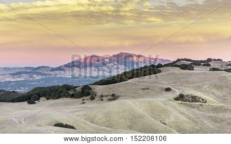Mt. Diablo Sunset. Contra Costa County, California, USA. Intense Diablo Range Sunset colors seen from Mott Peak of Briones Regional Park in Martinez.