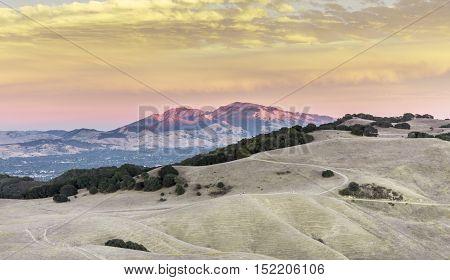 Mt. Diablo Sunset. Contra Costa County, California, USA. Intense Diablo Range Sunset colors seen from Mott Peak of Briones Regional Park in Martinez.