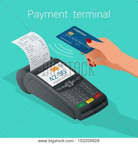 Isometric Pos terminal confirms the payment by debit credit card. Vector illustration in flat design. nfc payments concept.
