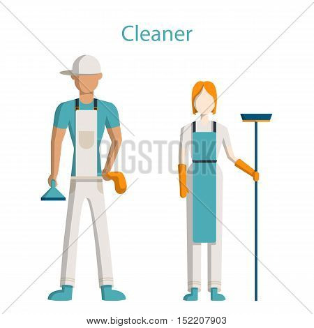 Cleaning service staff. Isolated figures of man and woman in uniform with equipment standing on white background.
