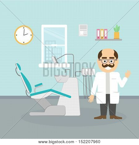 Dentist at the cabinet. Modern cabinet with equipment and tools. Professional man with moustache in white. Happy smiling dentist.