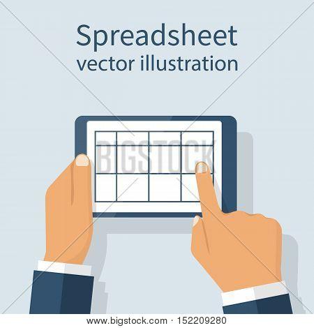 Spreadsheet On Tablet Screen