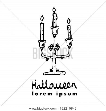 Candlestick, Candleholder, Candelabrum. Vector Illustration Of Cute Greeting Card For Halloween. Log