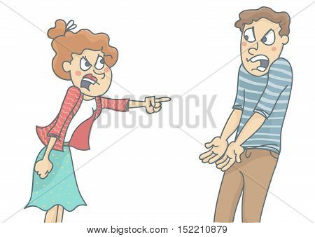 Young woman and man in quarrel, screaming and shouting at each other. Vector illustration of couple argue due to love relationship problems, isolated, white background.