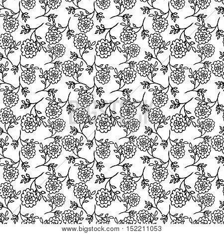 white seamless pattern with black abstract peony flowers. vector