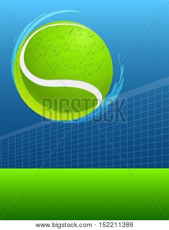 blue and green abstract tennis background with ball. vector
