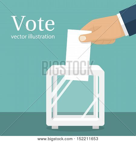 Voting election concept.Vector illustration flat design style. Man holds in his hand bulletin puts in ballot box. Casting vote. Politics poll choice. Makes choice.
