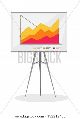 Presentation screen with stock lines isolated. Flip Chart. Editable items in flat style for your web design. Part of series of accessories for work in office. Infographics. Vector illustration