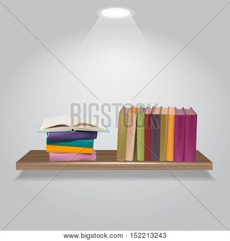Vector illustration of bookshelves .  isolated on a white background