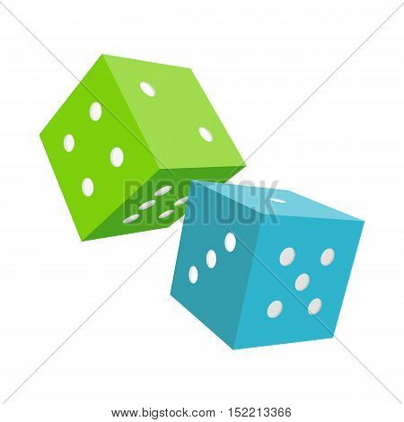 Dices isolated on a white background. Blue and green falling dices. Make wagers on the outcome of roll of a pair of dice. Gambling luck, fortune and bet, risk and leisure, jackpot chance. Vector