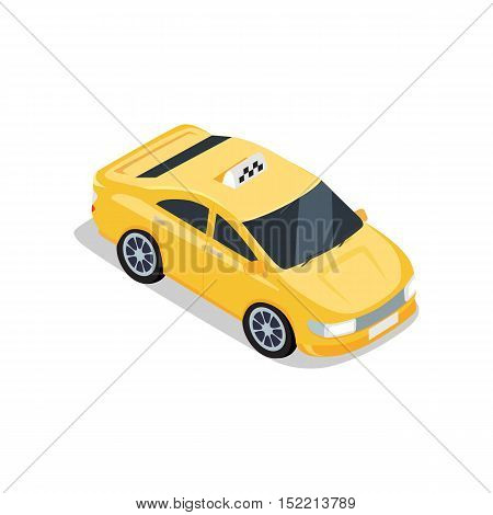 Flat 3d isometric yellow car taxi with shadow. City service transport icon. Car taxi icon. Isometric part of the city infrastructure. Isometric taxi cab. Isometric yellow taxi. Yellow taxi cab