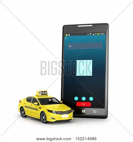 Yellow taxi near mobile phone isolated on white background. 3D illustration