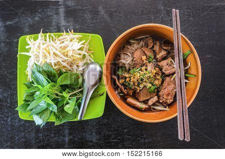 flatlay noodle food thai style on table