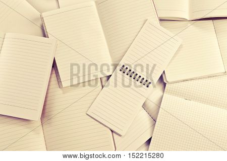 Manny empty notebook paper and note pad background