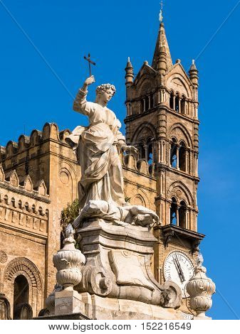 Cathedral Bell Tower With Monument Of Rosalia Patron Saint Of The City Of Palermo In Sicily, Italy.