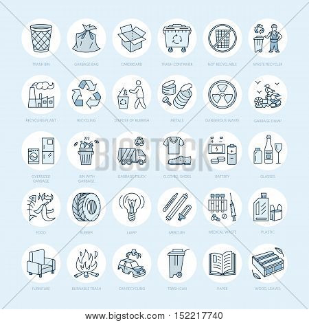 Modern vector line icon of waste sorting recycling. Garbage collection. Recyclable waste - paper glass plastic metal. Linear pictogram with editable stroke for poster brochure of waste management
