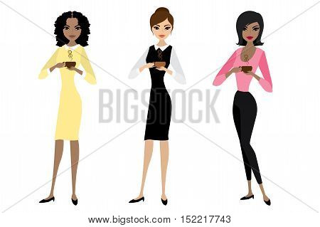 Three business woman standing and holding in hands a cup of coffee or tea, vector illustration isolated on white background