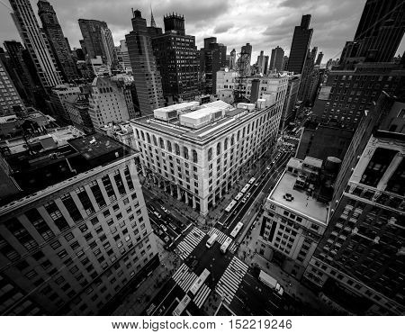 Aerial view in high contrast black and white of New York City, looking down on 5th Avenue
