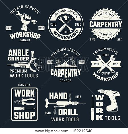 Work tools monochrome emblems with typographic letterings and carpentry instruments on black background isolated vector illustration