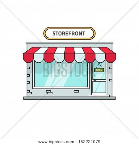 Store vector illustration isolated on white background, storefront building front view, shop facade flat line outline style