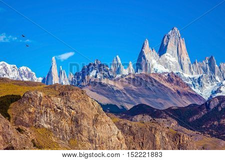 Amazing Patagonia in February. Fitzroy Mountains covered midday sun