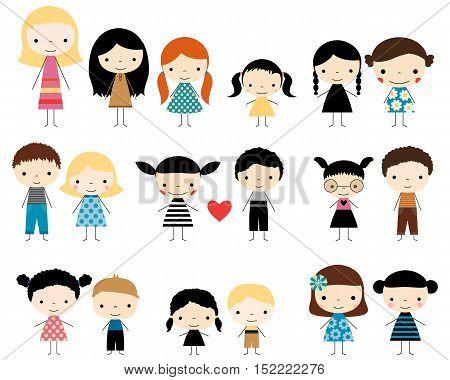 Cute vector set of children stick figures - boys and girls