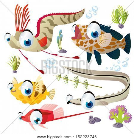 cute vector cartoon fish collection. colorful illustrations of sea life animals. oarfish, grouper, sablefish, puffer, guppy
