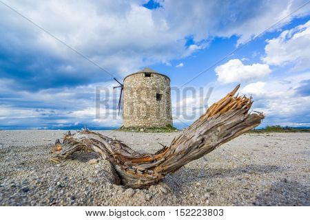 Old windmill ai Gyra beach, Lefkada Greece