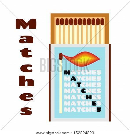 Vector illustration of matchbox with matches. Box with matchsticks.