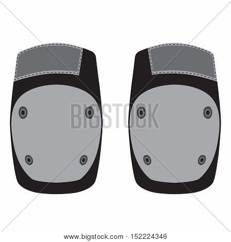 Skateboarding, bicycle, roller skating protective gear in flat vector style. Knee pads.