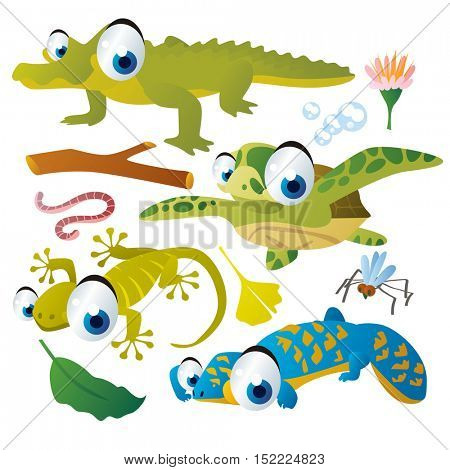 cute vector cartoon reptile collection. colorful illustrations of alligator, sea turtle, gecko, lizard