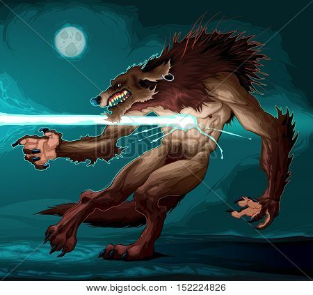 Werewolf is fighting with a lighting. Vector cartoon fantasy illustration