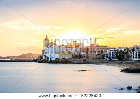 Beautiful Sitges At Sunset, Catalonia, Spain
