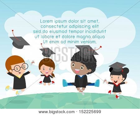 Graduation kids, happy child graduates, happy kids jumping, Graduates in gowns and with diploma, students graduation, vector illustration