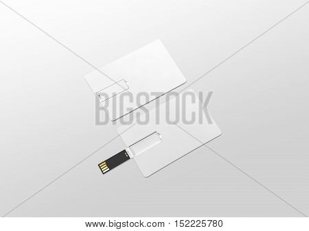 Blank white plastic wafer usb card mockup lying opened and closed clipping path 3d rendering. Visiting flash drive namecard mock up. Call-card disk souvenir presentation. Flat credit stick adapter.