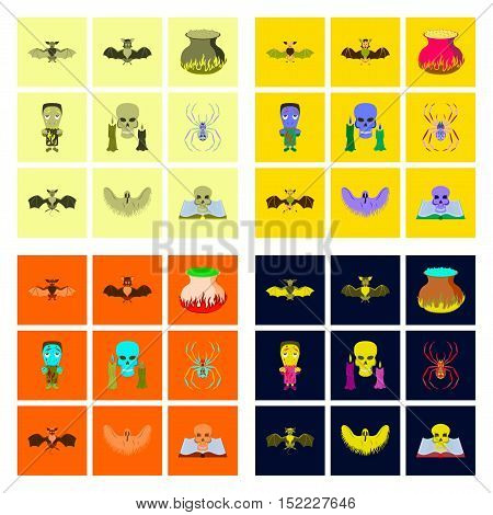 assembly of flat illustration icons book skull ghost bat spider zombie men cauldron