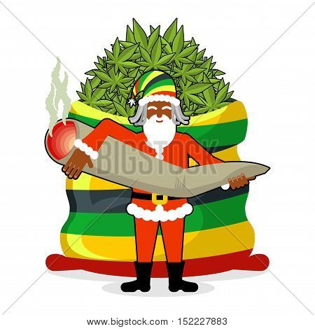 Rasta Santa Claus Wishes. Big Red Sack Hemp . Bag Of Marijuana. Pile Of Green Cannabis. Great Joint