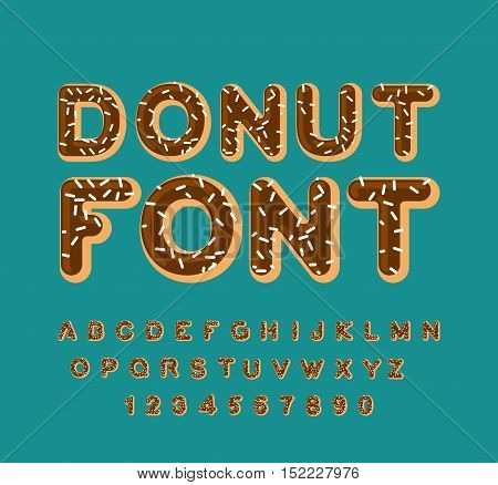 Donut Font. Pie Alphabet. Baked In Oil Letters. Chocolate Icing And Sprinkling. Edible Typography. F