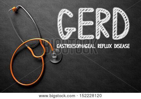 Medical Concept: GERD - Gastroesophageal Reflux Disease Handwritten on Black Chalkboard. Medical Concept: Black Chalkboard with GERD - Gastroesophageal Reflux Disease. 3D Rendering.
