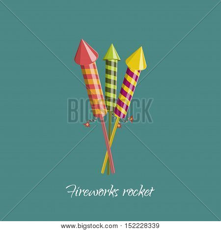 Firework rocket in cartoon style. Object for birthday christmas or celebrates. Vector illustration