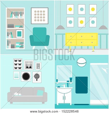 Apartment set. Apartment furniture collection. Furniture for living room, home office, hall, bathroom. Flat vector illustration design.
