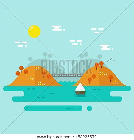 Landscape. Autumn nature landscape with river, hills and trees. Flat style vector illustration.