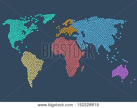Dotted world map stock vector illustration. Dot World map. Business background.